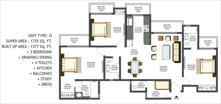 Prateek Group Prateek Wisteria, Resale Noida Sector - 77, Floor Plan ...