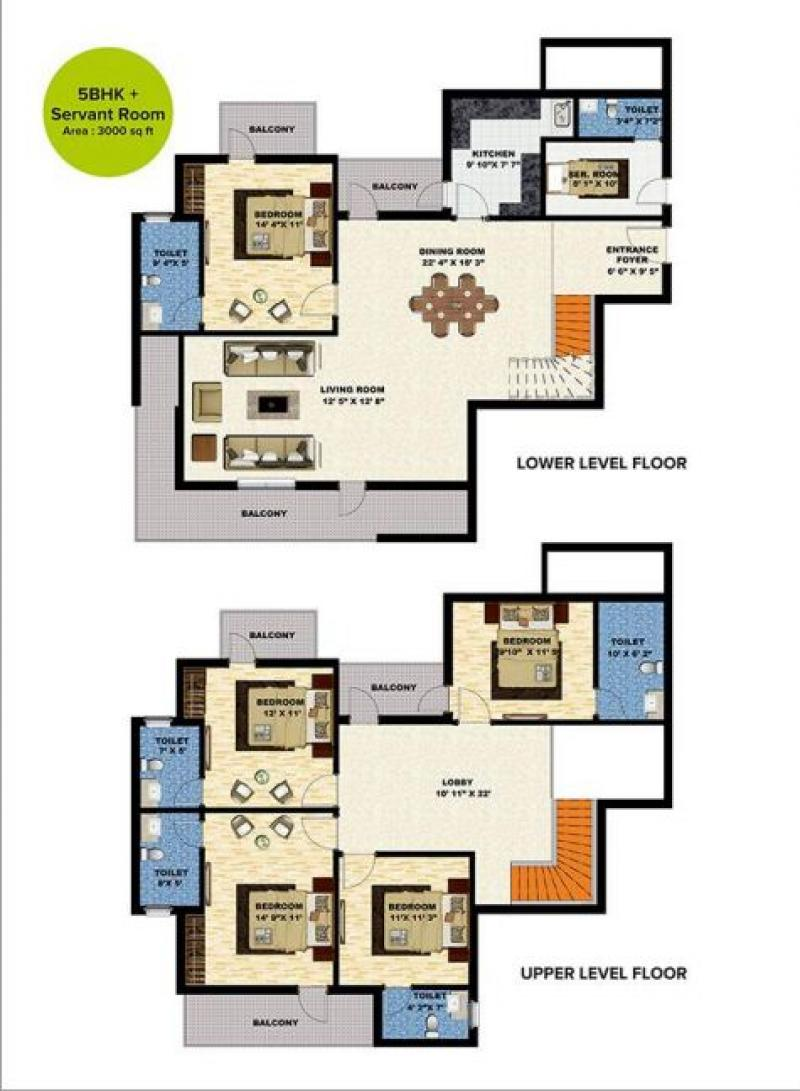5 Bhk 3000 Sq Ft Residential Apartment Seven Colors Happy