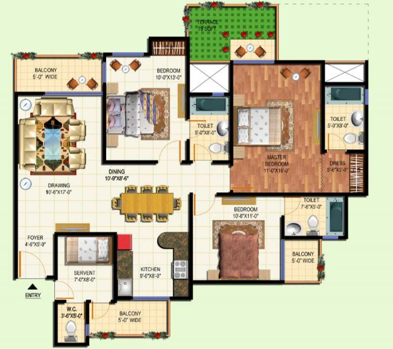 3 Bhk 1700 Sq Ft Residential Apartment Amrapali Terrace Homes