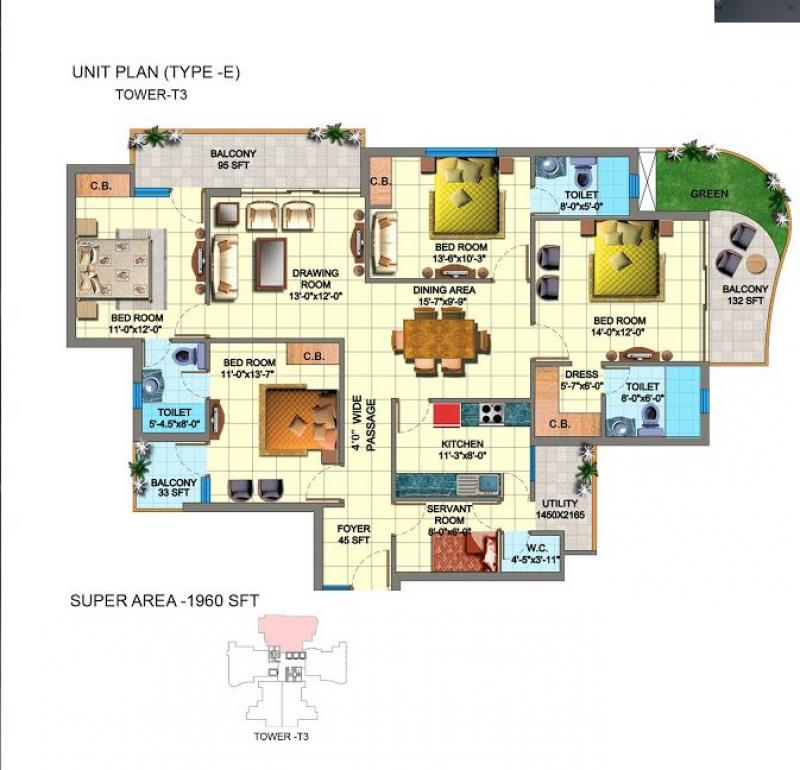 4 bhk 1960 sq ft residential apartment sds nri residency for 3000 sq ft gym layout